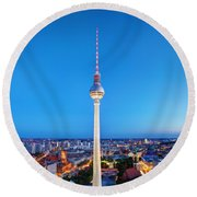 Tv Tower Or Fersehturm In Berlin Round Beach Towel