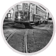 Typical Lisbon Tram In Commerce Square Round Beach Towel