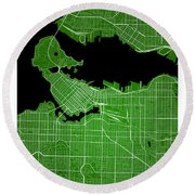 Vancouver Street Map - Vancouver Canada Road Map Art On Colored  Round Beach Towel