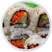 Vegetable Sushi Round Beach Towel