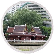 View From Chao Phraya River In Bangkok Round Beach Towel