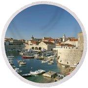 View Of Dubrovnik In Croatia Round Beach Towel