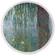 Waterlilies Morning With Weeping Willows Round Beach Towel