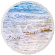 Waves Breaking On Tropical Shore Round Beach Towel by Elena Elisseeva