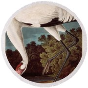 Whooping Crane Round Beach Towel by Celestial Images