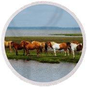 Wild Horses Of Assateague Island Round Beach Towel