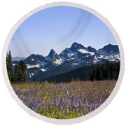 Wildflowers In The Cascades Round Beach Towel