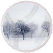 Winter Trees In Fog Round Beach Towel by Elena Elisseeva