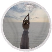 Woman At The Beach Round Beach Towel