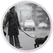 Woman With Her Dog Round Beach Towel