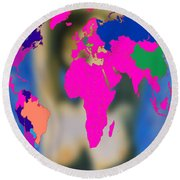 World Map And Aphrodite Round Beach Towel