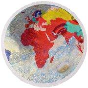 World Map And Barack Obama Stars Round Beach Towel