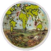 World Map And Earth Round Beach Towel