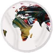 World Map And Human Life Round Beach Towel