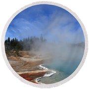 Yellowstone Park Geyser Round Beach Towel