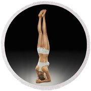 Yoga Headstand Pose Round Beach Towel