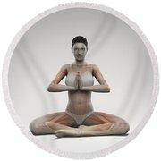 Yoga Meditation Pose Round Beach Towel