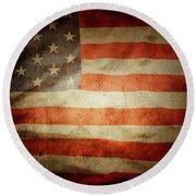 American Flag Rippled Round Beach Towel