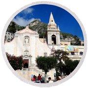 Views Of Taormina Sicily Round Beach Towel