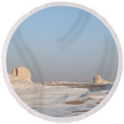 White Desert Round Beach Towel