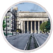 30th Street Station From Jfk Blvd Round Beach Towel