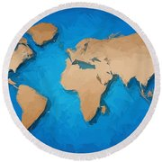 World Map Round Beach Towel