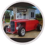 32 Ford At Filling Station Round Beach Towel