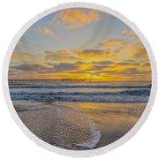 Ocean Beach Pier Sunset Round Beach Towel