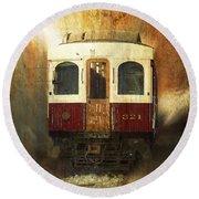 321 Antique Passenger Train Car Textured Round Beach Towel