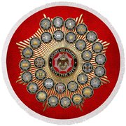 33 Scottish Rite Degrees On Red Leather Round Beach Towel