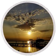 An Outer Banks Of North Carolina Sunset Round Beach Towel