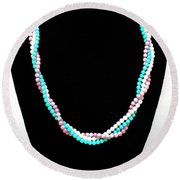 3584 Three Strand Twisted Shell Necklace Round Beach Towel
