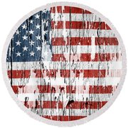 American Flag 49 Round Beach Towel