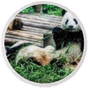 3722-panda -  Embossed Sl Round Beach Towel