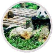 3722-panda -  Oil Stain Sl Round Beach Towel