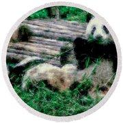 3722-panda -  Pastel Chalk 1 Round Beach Towel