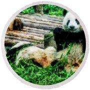 3722-panda -  Watercolor 1 Round Beach Towel