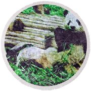 3722-panda -  Watercolor 2 Sl Round Beach Towel