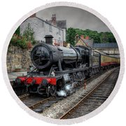 3802 At Llangollen Station Round Beach Towel