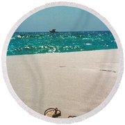 #384 33a Sandals On The Beach - Destin Florida Round Beach Towel