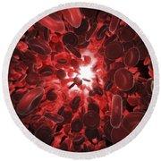 Red Blood Cells Round Beach Towel