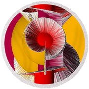 3d Abstract 18 Round Beach Towel by Angelina Vick