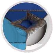 3d Abstract 19 Round Beach Towel by Angelina Vick