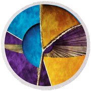 3d Abstract 23 Round Beach Towel
