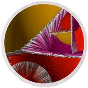 3d Abstract 6 Round Beach Towel