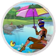 Girl By The Lake Round Beach Towel