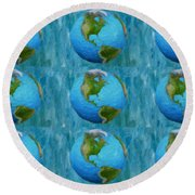 3d Render Of Planet Earth 1 Round Beach Towel