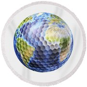3d Rendering Of A Planet Earth Golf Round Beach Towel