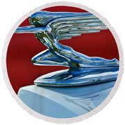 1936 Packard Hood Ornament Round Beach Towel