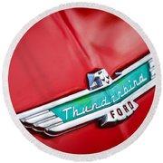 1956 Ford Thunderbird Emblem Round Beach Towel